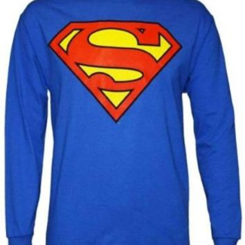 "SUPERMAN ""CLASSIC SHIELD"" Long Sleeves Royal Blue Licensed Tee (Adult XL)"