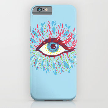 Weird Blue Psychedelic Eye iPhone & iPod Case by Boriana Giormova