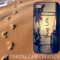 Apple iPhone 4 4G 4S 5G Hard Plastic or Rubber Cell Phone Case Cover Original Trendy Stylish Thug Life Beach Quote Design