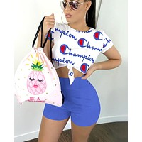 Champion tide brand female letter printing sports casual two-piece Blue