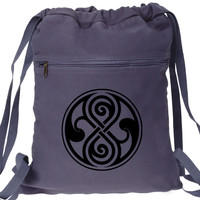 Seal of Rassilon Doctor Who Inspired Canvas Drawstring Backpack