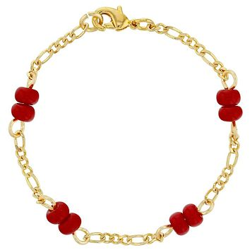 18k Gold Plated Red Bracelet for Baby Evil Eye Protection Newborn 4.5""