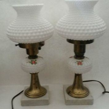 Vintage Small White Milk Glass Hobnail Lamp Pair Painted Flowers Marble Base