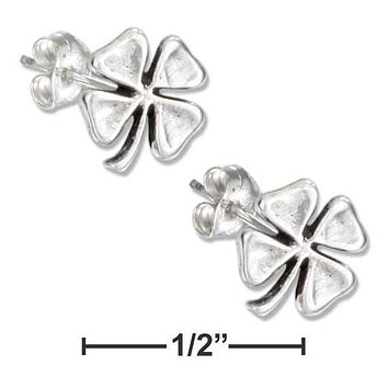 Sterling Silver Earrings:  Four Leaf Clover Earrings On Stainless Steel Posts And Nuts
