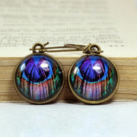 Peacock Resin Glass Dome Earrings, Dangle Heart Earrings