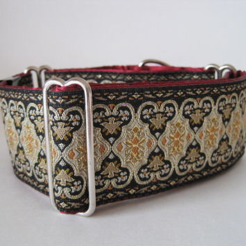 Jacquard Martingale Collar, 2 inch Martingale Collar, Christmas, Jacquard Dog Collar, Black, Ivory, Greyhound Collar, Sighthound Collar