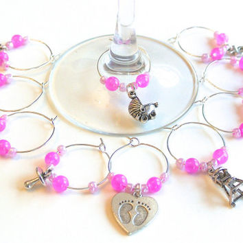 Baby Girl Wine Charms- 10 Pink Wine Glass Tags for Baby Shower, Wine Glass Accessories, Baby Charms, Favors,