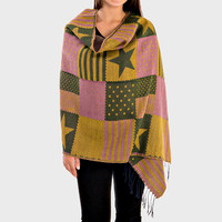 Oversized American Flag Stripe Poncho Knit Fringed Trim Blanket Scarf - Mustard