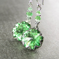 Swarovski Crystal Peridot Earrings, Sterling Silver Peridot Green Crystal Earrings, Peridot Dangle Earrings, Peridot Drop Earrings