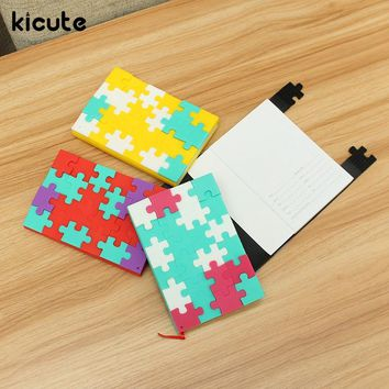 Kicute Unique Multi Color Soft Cover Puzzle Notebook Blank Paper Mini Notepad For Diary Travel Journal Sketchbook School Supply