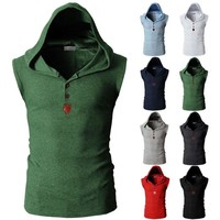 Mens Sleeveless Slim Fit Hoodie Sweatshirt Sport Gym  Vest Pullover Tops T-Shirt