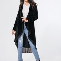 Streetstyle  Casual Collarless Plain Patchwork Flounce Coat