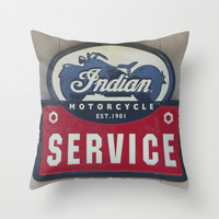 Indian Motorcycle Service Throw Pillow by Veronica Ventress