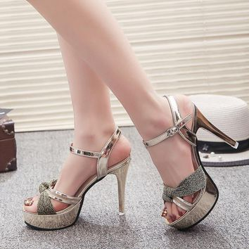 Open Toe Platform Ankle Wrap Stiletto High Heels Sandals