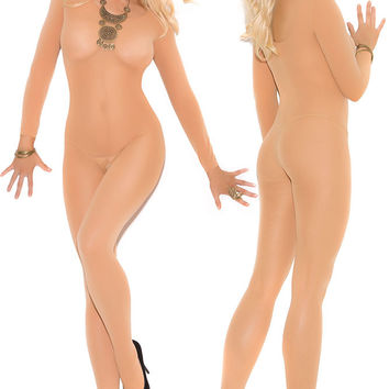 2016 New for Women Nude Black Foxy Babe Long Sleeve Bodystocking LC79796