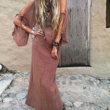 New Brown Cut Out Pleated Deep V-neck Flowy Boho Vintage Maxi Dress