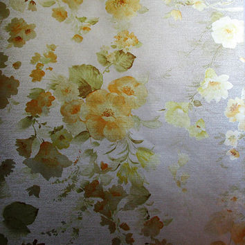 Gold Metallic Roses 70s Wallpaper Vintage Yellow 1970s Wallpaper Ephemera Vinyl Paper
