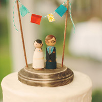 Custom Handcrafted Rustic  Wedding Cake Topper and Decoration Piece / Classic Style