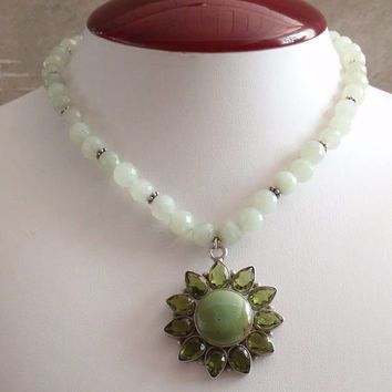 Peridot Necklace Sterling Silver Prehnite Green Gemstone Turquoise Vintage V0899