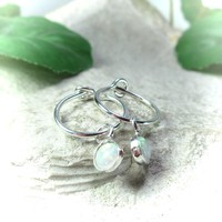 Little Hoop Earrings Dangle Silver MMS17 Opal