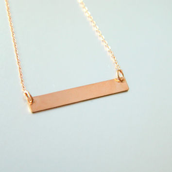 Rose Gold Bar Necklace, Gold Bar Necklace, Kardashian Necklace, Dainty Gold Bar Necklace