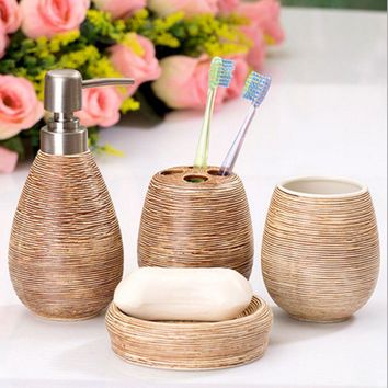 Straw pattern bathroom bath gift sets creative home 4pcs/set Home accessories home bath products