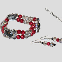 Regal Red-Ladies Jewelry Set-2 Piece Jewelry Set-Ladies Bracelet-Ladies Earrings-Women-Trending-Unique-Jewelry Sets-Gift Ideas For Her