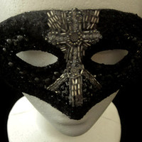 Black and Silver Goth Inspired Mask Decorated with Cross Applique, Tarnished Silvered Beads, Seed Beads, Sequins & Glitter, Free US Shipping