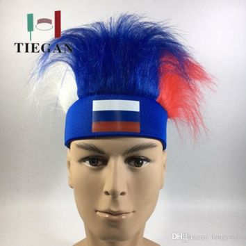 Fan Wig of FIFA 2018 - Fans Cheer on Wearing Wigs - 32 countries Football Team Flags Wi
