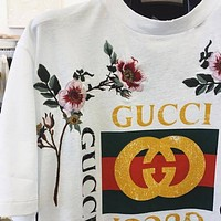 GUCCI Trending Women Letter Flower Embroidery Print Round Collar T-Shirt Top Blouse I