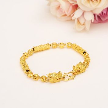 18cm dubai Charm Bracelet for Women Gold dragon Bangle cute boy kids girls women Hand Chain Jewelry anklets Arab Chinese gift