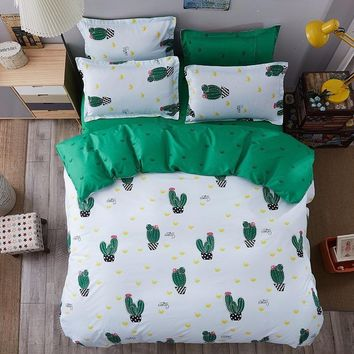 Green Cactus Sheet Pillowcase Duvet Cover Set New Pastoral Bedding Set Modern Bed Linen Autumn Bedclothes 3/4pcs /set Kids Set