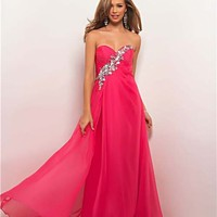 Hot Pink Chiffon & Charmeuse Rhinestone Strapless Sweetheart Prom Dress - Unique Vintage - Cocktail, Pinup, Holiday & Prom Dresses.