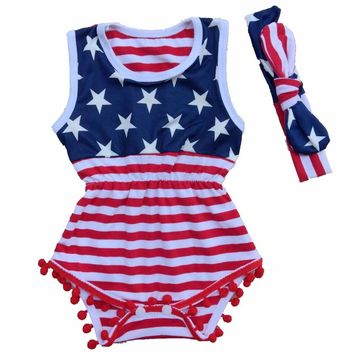 American Girl Romper + Headband 2pcs