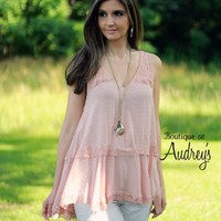 Entro Light Blush Sleeveless Lightweight Top with Lace Trim - Boutique At Audrey's
