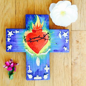 Sacred Heart-Milagro Cross-Handpainted-Love, Charity & Compassion-Folk Art-
