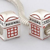925 solid sterling silver telephone booth charm bead compatible with European style bracelets
