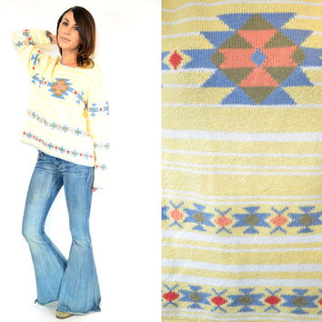 SOUTHWESTERN striped geometric BOHEMIAN hippie SWEATER pullover, extra small-large