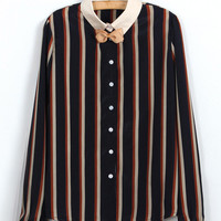 Striped Long Sleeve Pointed Flat Collar Blouse with Tie