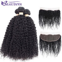BEAUDIVA Pre Colored 1B# Natural Color Kinky Curly Three Bundles With 13*4 Closure Can Be Dyed Human Hair Weave Non Remy -in Pre-Colored One Pack from Hair Extensions & Wigs on Aliexpress.com | Alibaba Group