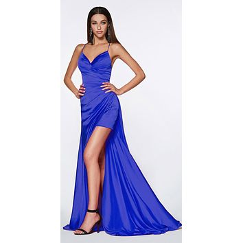 CLEARANCE - Fitted Gathered Gown Royal Blue Full Length Side Slit And Mini Skirt (Size Large)