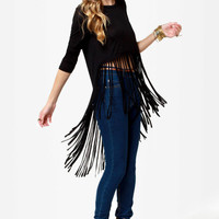 Black Hem Fringed Asymmetrical Sleeve Tee