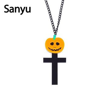 2018 Halloween Acrylic Pumpkin Cross Necklace Funny Acrylic Party Fashion Pendant Necklace Punk Cool Fashion Jewelry for Women