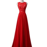Red Lace Chiffon Beaded Long Prom\Evening Dresses