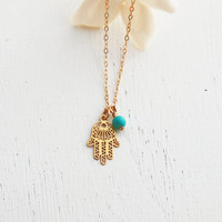 Gold hamsa necklace, turquoise necklace, gold necklace, luck necklace, evil eye protection, Tiny Gold Necklace, Dainty Jewelry