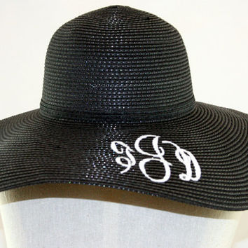 Monogrammed Hat Beach Pool Floppy Straw Hat