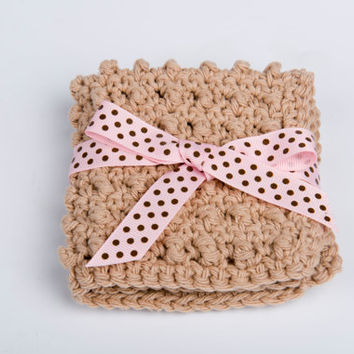 Washcloth Scrubbie, Crochet Cotton Spa Accessory - khaki