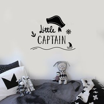 Vinyl Wall Decal Little Captain Kids Room Nautical Art Sailor Decoration Stickers Mural (ig5514)