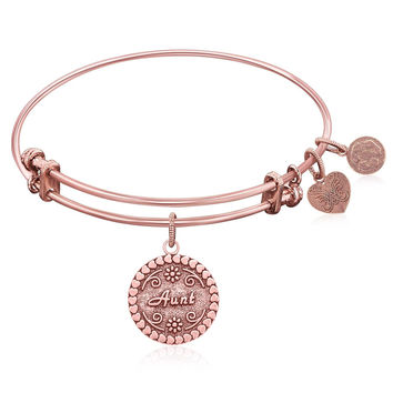 Expandable Bangle in Pink Tone Brass with Aunt Symbol