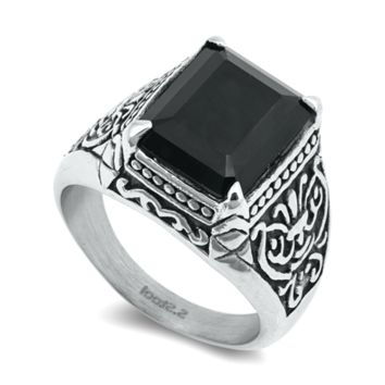 Stainless Steel Black Onyx Gothic Princess Cut Ring Ladies Mens Size 7-15